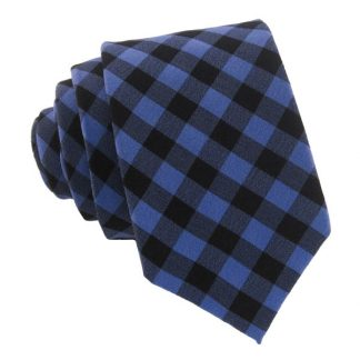 Blue and Black Gingham Skinny Men's Tie 10529