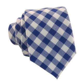 Blue and White Gingham Skinny Men's Tie 1701