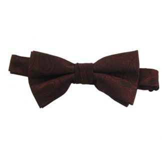 Burgundy Paisley Banded Bow Tie 2997