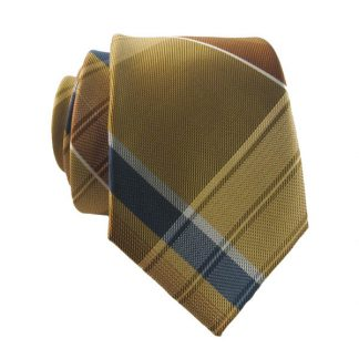 Gold, Navy & Orange Large Plaid Men's Skinny Tie w/ Pocket Square 1231