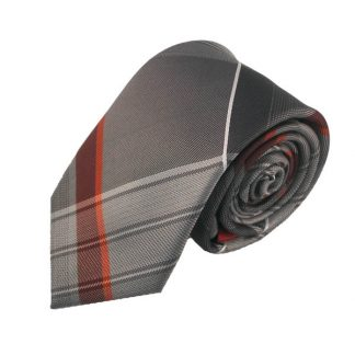 Grey & Red Large Plaid Men's Skinny Tie w/ Pocket Square 11072