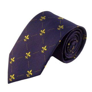 Purple w/ Gold Fluerdelis Men's Tie 11075