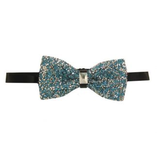 Turquoise Glitter Banded Bow Tie 7475