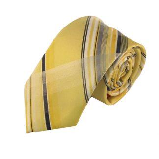Yellow Blue Plaid Skinny Men's Tie w/ Pocket Square 3824
