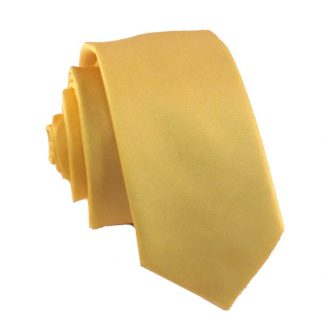 Yellow Solid Men's Skinny Tie w/ Pocket Square 4955