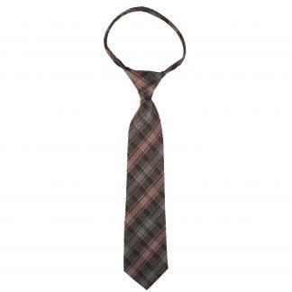 "14"" Pink & Gray Plaid Boy's Zipper Tie"