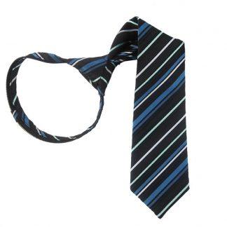 """11"""" Teal, Blue & Black Stripe Boy's Zipper Tie 4945"""