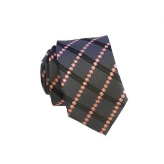 Charcoal, Pink Criss Cross Skinny Men's Tie