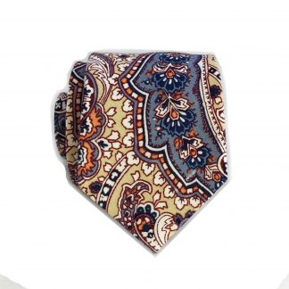 Cream, Peach, Floral Cotton Skinny Men's Tie