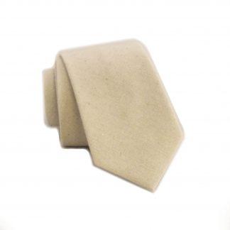 Cream Solid Tone on Tone Skinny Cotton Men's Tie