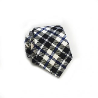 Blue, Navy Check Pattern Cotton Skinny Men's Tie