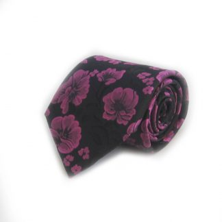 Fuchsia, Black Floral Men's Tie w/ Pocket Square