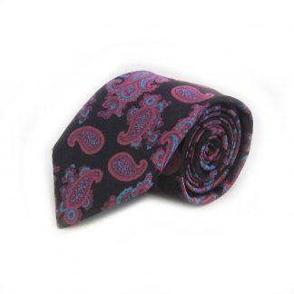 Black, Fuschia, Aqua Floral Paisley Men's Tie 5100-0