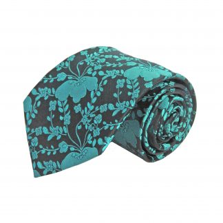 Teal, Black Floral Men's Tie 8351-0