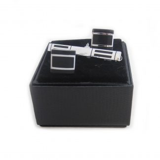 Silver, Black Rectangle Pattern Cuffllinks and Tie bar