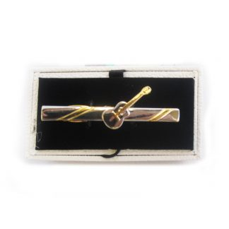 Silver and Gold Guitar Tie Bar