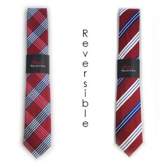 Red, Blue Criss Cross and Red, Blue Stripe Reversible Men's Tie w/Pocket Square