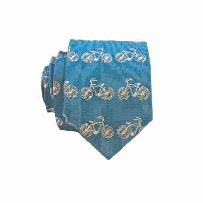 Blue Cream Bicycles All Over Skinny Men's Tie