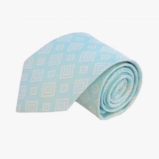 Aqua, Silver Squares Men's Tie