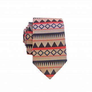 Khaki, Black Geometric Stripe Men's Skinny Tie