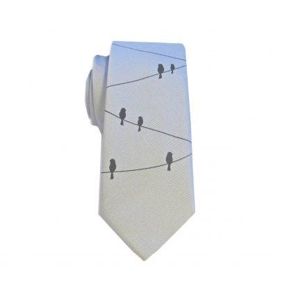 Gray, Black Birds on a Wire Skinny Tie