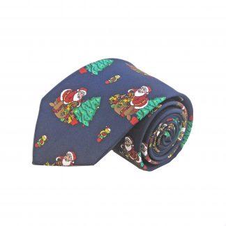 Navy Santa and Christmas Tree Men's Tie