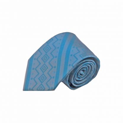Grey, Teal Aztec Stripe Men's Tie