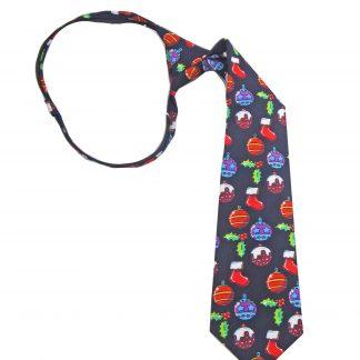 """14"""" Boys Zipper Navy Ornaments Tie"""