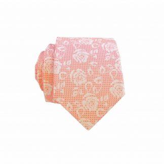Coral Lace Floral Men's Skinny Tie