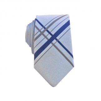Grey, Navy Large Criss Cross Men's Skinny Tie