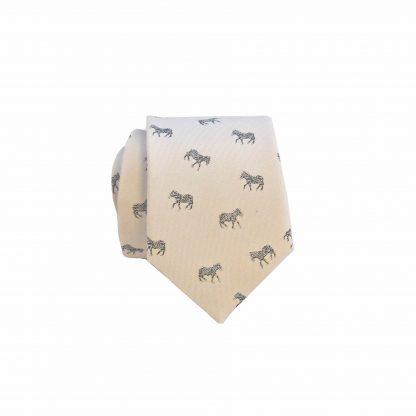 Cream, Zebra Men's Skinny Tie