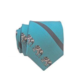 Teal Blue Elephant Stripe Skinny Men's Tie