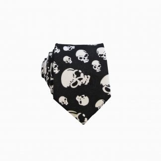 Black, White Skulls Men's Skinny Tie