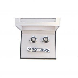 Silver Black Round Tie Bar and Cufflink Set