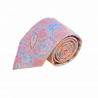 Pink Aqua Floral Tie w/Pocket Square