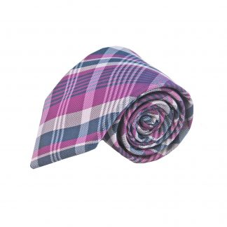 Fuchsia Navy Grey Plaid Men's Tie w/Pocket Square