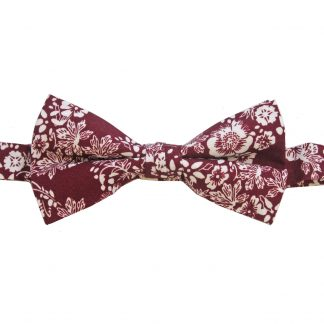 Burgundy, White Floral Banded Bow Tie,