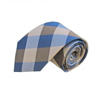 Taupe Khaki Grey Large Block Men's Silk Tie