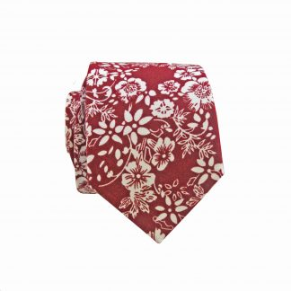 Burgundy, White Floral Cotton Men's Skinny Tie