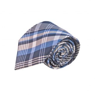 Blue Grey Plaid Men's Tie and Pocket Square