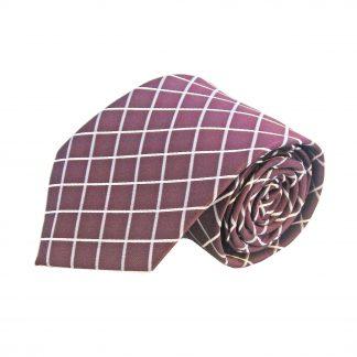 Burgundy Grey Criss Cross Men's Tie