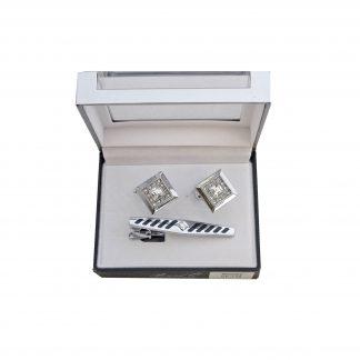 Silver w/ Stones Tie Bar and Cufflink Set