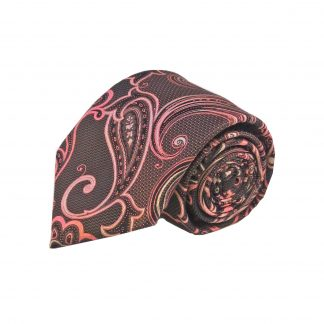 Brown Pink Floral Men's Tie w/Pocket Square