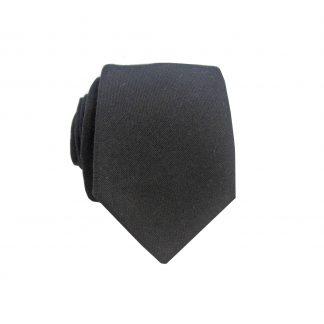 Black Solid Cotton Men's Skinny Tie