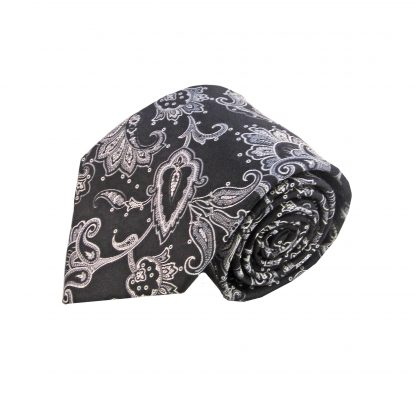 Black Gray Floral Men's Tie w/Pocket Square