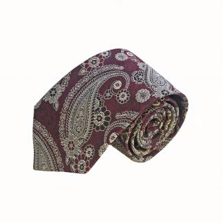 Burgundy Gray Paisley Tie and Pocket Square Set
