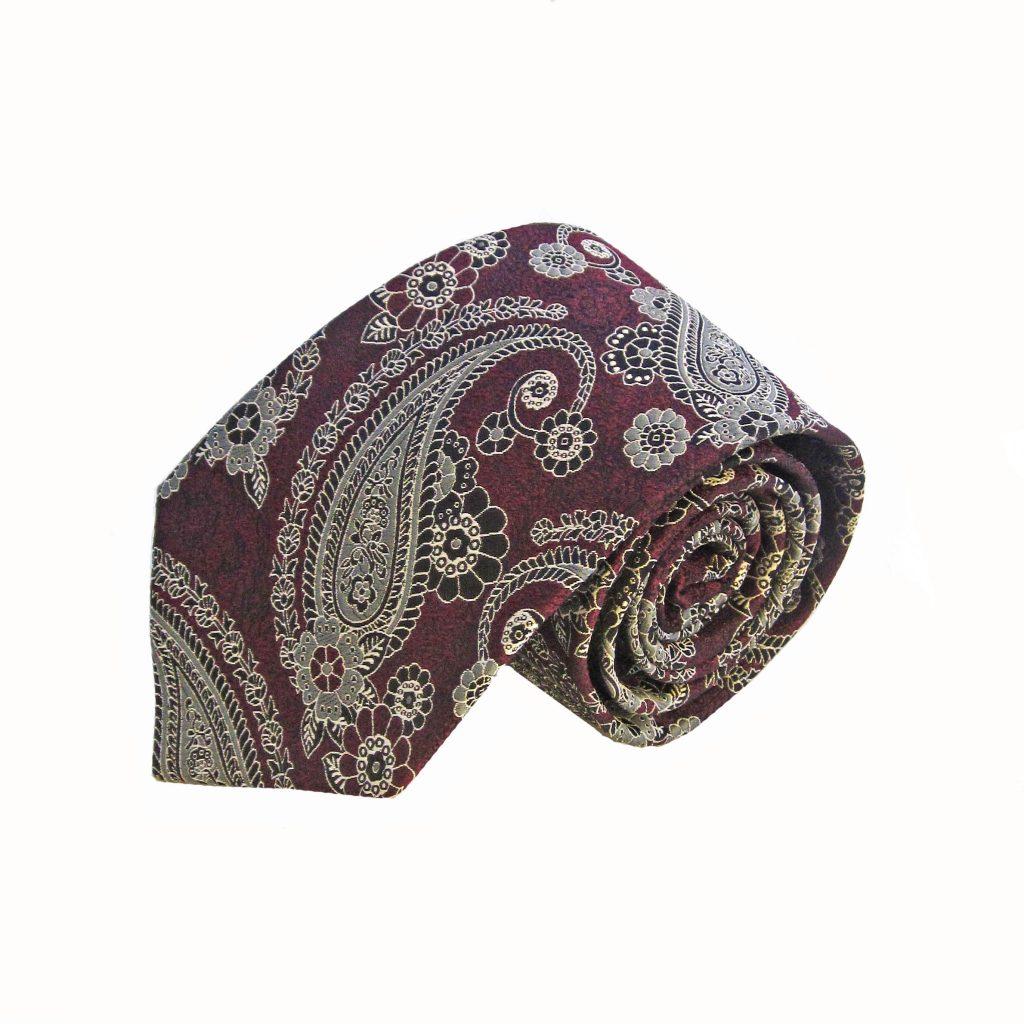 db82d87fa44bb Burgundy Gray Paisley Tie and Pocket Square Set