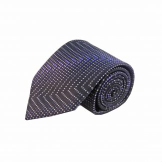 Purple Black Zigzag Men's Tie w/ Pocket Square