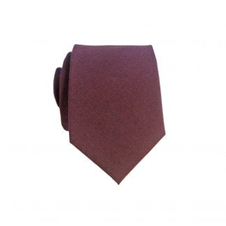 Burgundy Solid Cotton Men's Skinny Tie
