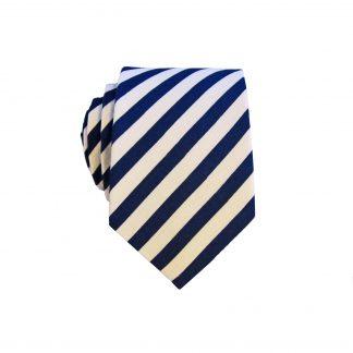 Navy White Narrow Stripe Men's Cotton Skinny Tie